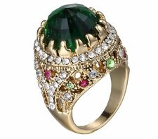 Green rings for women metal crystal rhinestone court style luxury zinc alloy