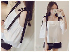 New Women's Gilrs Lovely Tying Shoulder Chiffon Off Shoulder Tops Shirt Blouses