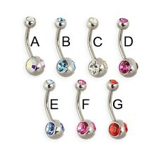 Navel ring with duo bottom gem and jeweled top ball