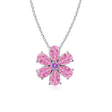 "2.47 ctw Cluster Set Pink Sapphire Amethyst Flower Pendant Necklace 18"" Chain"