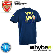 OFFICIAL ARSENAL FC YELLOW AND BLUE LOGO NAVY BLUE T-SHIRT ARSENAL MERCHANDISE