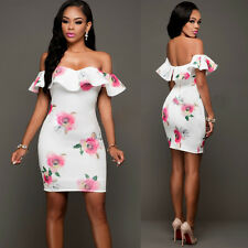 Sexy Lady Ruffles Shoulder Floral Dress Bodycon Cocktail Women Slim Mini Dresses