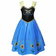 Girls Fancy Dress Shining Flower Anna Cosplay Kids Costume Halloween Party