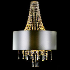 Contemporary Chrome Crystal 6-Light Chandelier Ceiling Lamp with Silver Shade