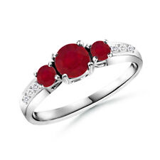 Three Stone Round Ruby Ring with Diamond Accents 14k Gold/ Paltinum Size 3-13
