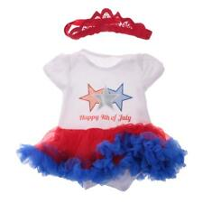 Happy 4th of July Star Cotton Infant Baby Girls Dress Body Suit with Headband
