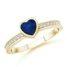 Natural Heart Sapphire Promise Ring with Diamond Accents Yellow Gold Size 3-13