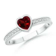 Natural Heart Garnet Promise Ring with Diamond Accents 14k White Gold Size 3-13