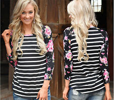 Fashion Womens Cotton Long Sleeve Loose Blouse Casual Tops Plus Size T-Shirt d20