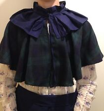 Ladies Late Victorian 1890 tartan cape gentry costume fancy dress navy size 4-30