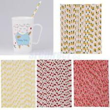 25Pcs Summer Fruit Theme Paper Straws Funny Party Beach Birthday Drinking Straw