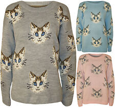New Womens Cat Kitten Animal Print Ladies Long Sleeve Knitted Jumper Top