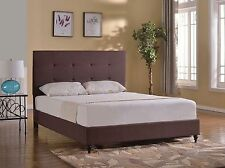 Bed Frame King Queen Full Twin Size Upholstered Headboard Brown Platform Wooden
