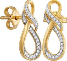 10K Gold diamond 1/6 ctw fashion dangling earrings