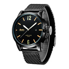 New Men's OULM 94 Date Display Luminous Army Stainless Steel Quartz Wrist Watch