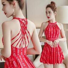Womens 2pcs Swimwear Paisley Swimsuit Red Bathing Suit Swimdress US12 10 8 6 #01
