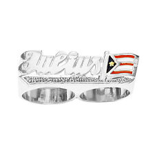 SNS176dc2 11mm Silver National Flag Two Finger Name Ring w/ Pave-cut Tail