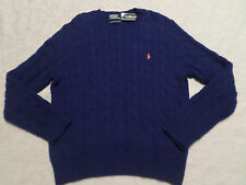 POLO RALPH LAUREN CABLE KNIT SWEATER MENS SIZE L CREWNECK DARK BLUE NEW NWT
