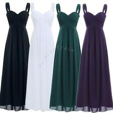 Women's Formal Long Pleated Bridesmaid Gown Party Cocktail Evening Prom Dresses