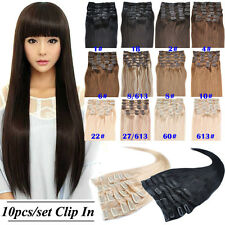 Set  20''26'' 10Pcs 160g  Remy Clip In Human Hair Extensions Any Color Full Head
