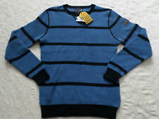NAUTICA SWEATER MENS CREW-NECK SIZE XXL BLUE & BLACK LONG SLEEVES NEW WITH TAGS