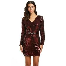 Women's V-Neck Long Sleeve Sequined Cocktail Bodycon Mini Dress BF901