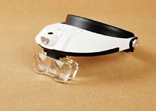 LED Lighted Headband Magnifying Glass Helmet Jeweler Head Magnifier Lamp Loupe