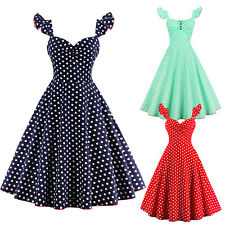Women's Vintage Rockabilly Swing Dress 1950s 60s Retro Dot Cocktail Party Dress