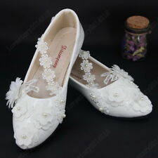 Wedding shoes lace pearl white Bridal flats low heel high heels pumps size 5-10