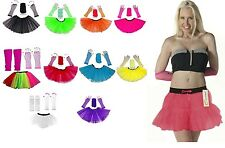 80'S HEN PARTY HOT NEON FANCY DRESS TUTU SKIRT SET 3PC LEGWARMERS FISHNET LOT