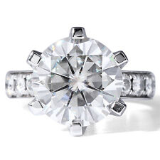 7.00 CT 14k White Gold ROund Cut Moissanite 6 Prong Solitaire Engagement Ring