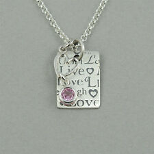 Live Laugh Love, birthstone jewelry, live laugh love necklace, sterling silver