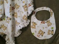 Swaddling / Crib Blanket and Infant Bib Set