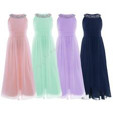 Flower Girl Princess Bow Wedding Birthday Party Pageant Chiffon Sleeveless Dress