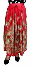 Indian Rayon Boho Hippie Casual Sequin Work Long Embroidered Skirt