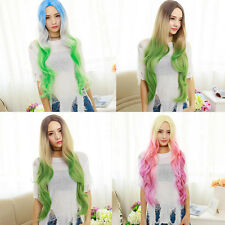 Womens Long Mixed Color Curly Wavy Cosplay Full Wigs Anime Costume Hair Wigs