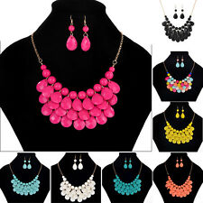 Fashion Women Jewelry Crystal Chunky Bohemia Style Pendant Necklace + Earrings