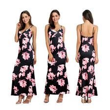 Women Sexy Spaghetti Strap V-Neck Floral Backless Party Long Maxi Dress Clever