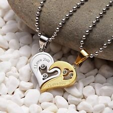 Mens Stainless Steel Chain Necklace Love Heart Couples Pendants Fashion Gold AU