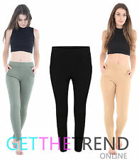 New Womens Ladies Elasticated Stretch Skinny Pocket Slim Fit Cigarette Trousers