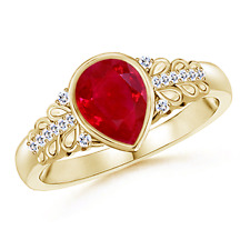 Natural Pear Shaped Ruby Vintage-Style Ring With Diamond Accents 14K Yellow Gold