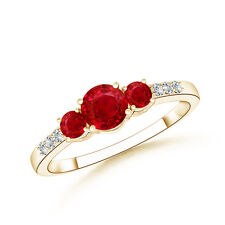 Natural Three Stone Round Ruby Ring with Diamond 14K Yellow Gold Size 3-13