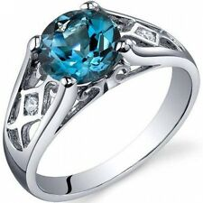 Oravo 1.50 Carat T.G.W. London Blue Topaz Solitaire Rhodium over Sterling Silver