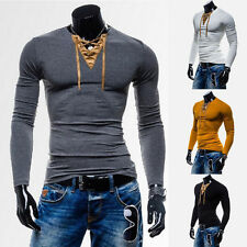 New Men's Sexy Muscle Long Sleeve T-shirt Slim Fit V-Neck Tee Tops 4 Colors d64