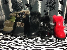 New Winter Warm Black Red Green Fur Ankle Boots Kids Shoes