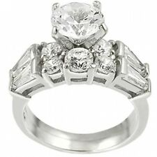 Alexandria Sterling Silver Baguette Cubic Zirconia Bridal Ring Set. Free Shippin