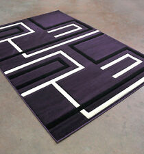 New Purple Black Contemporary Hand Carved 3-D Linear Polyester Area Rug Carpet