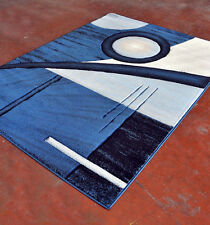 New Dark Blue Contemporary Hand Carved 3-D Abstract Polyester Area Rug Carpet