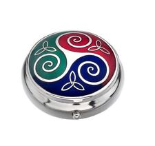 Sea Gems Gift Boxed Enamelled Celtic Triskeles Silver Plated Pillbox 4x Colours