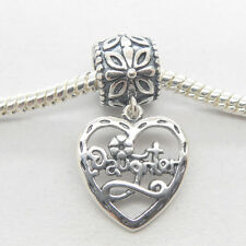 Authentic Genuine S925 Sterling Silver Daughter Dangle heart Charm